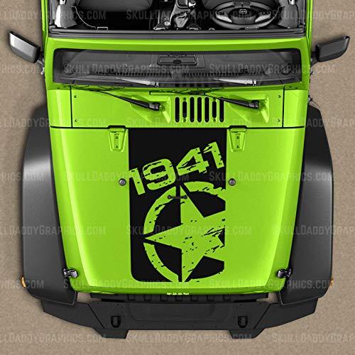 Skull Daddy Graphics 1941 Military Star Hood Decal Sticker to fit Jeep Wrangler JK JKU 2007-2018 (Matte Black)