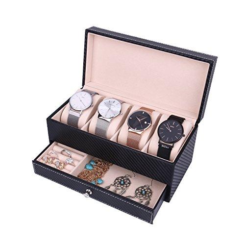 Uhren Aufbewahrung Schmuckkästchen Schmuckkoffer für Herren und Damen, Meshela Uhrenbox für 4 Uhren mit 1 Schmuck Tablett