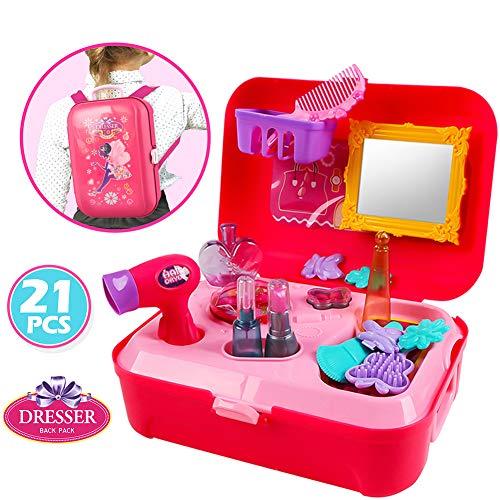 Buyger 21 Piezas Plástico Maletín Maquillaje Niña Princesa Belleza Peluquería Juguete Juego de rol Mochila para Niños