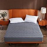 HAIBA Protector de colchón con borde de sujeción, también adecuado para camas de somier y camas de agua, microfibra, 100% poliéster, color gris oscuro 001, 120 x 200 cm + 25 cm