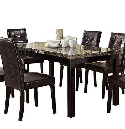 Benzara Slick Finish Faux Marble & Pine Wood Dining Table, Brown