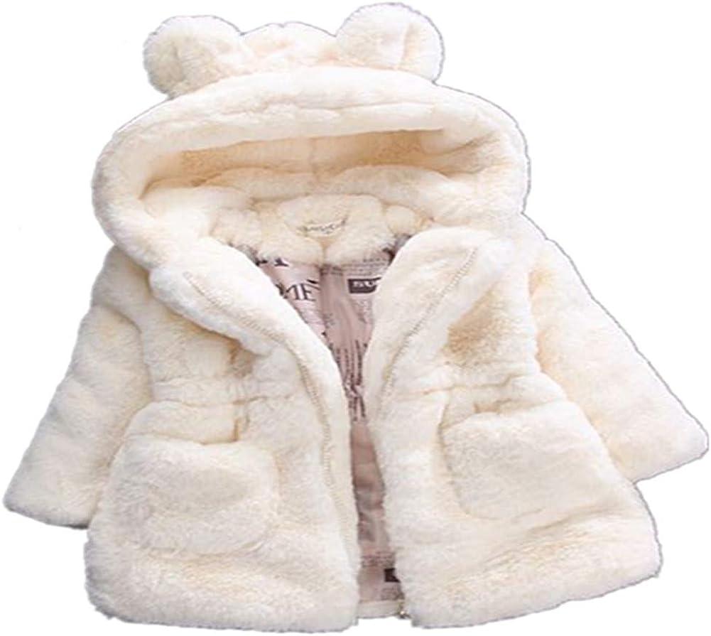 ADO Stap Max 60% OFF Challenge the lowest price Little Girls Winter Fleece Kids Faux Hood Fur Coat with