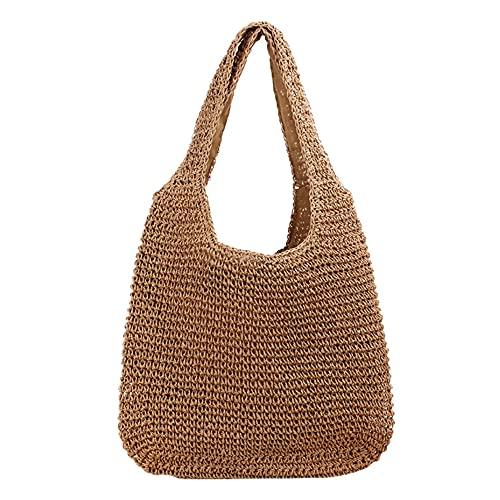 Bolsos de paja para mujer, bolsa de playa, bolsas tejidas a mano, regalo de cumpleaños para amigos y damas, E-caqui, Medium