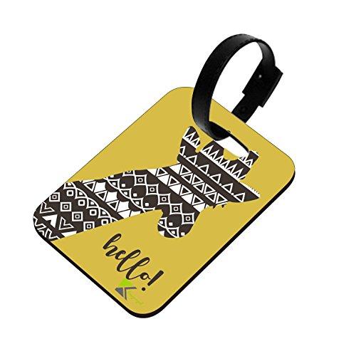 LT036 - Cartellino per valigia in legno MDF lucido, motivo: Hello Novelty