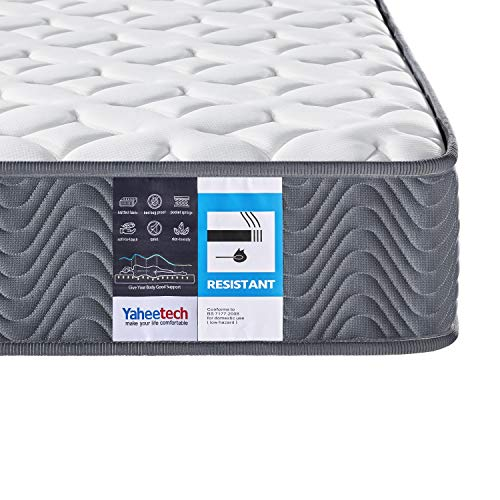 Yaheetech 3ft Single Mattress Pocket Spring Mattress for Single Bed Single Mattress with Hypoallergenic Knitted Fabric,20cm Thick,Medium Firmness for Adults,Gray