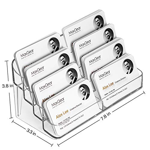 MaxGear Acrylic Business Card Holder for Desk Multiple Business Card Holders, Business Card Stand Business Card Display Holder, Clear Plastic Business Card Holder Display Office, 8 Pocket Photo #6