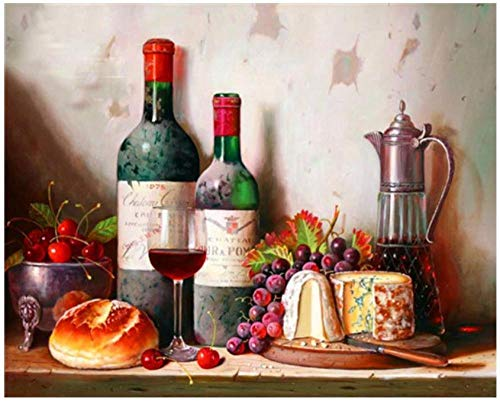 Dybjq Kitchen Diamond Embroidery Painting Wine Bottle Mosaic Art Sunset Rhinestone Sticker Landscape Wall Paper Decor Needlework Gifts 40x50cm