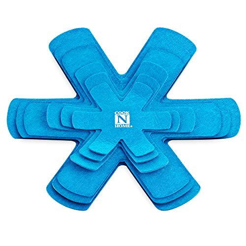 Cook N Home 6-Piece Pot and Pan Protector Divider Pad Set, 6 to 16 Inch/16 to 40cm, Blue