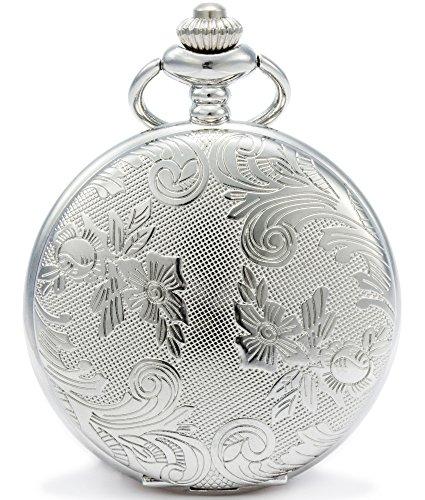SEWOR Flores de bronce Reloj de bolsillo de cuarzo vintage Shell Dial con dos tipos de cadena (cuero+metal)