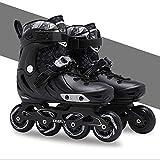 XeinGanpre - Patines en línea unisex para adultos y niños, patines deportivos ajustables con ruedas, seguros y duraderos, de moda para mujeres, hombres y jóvenes, negro