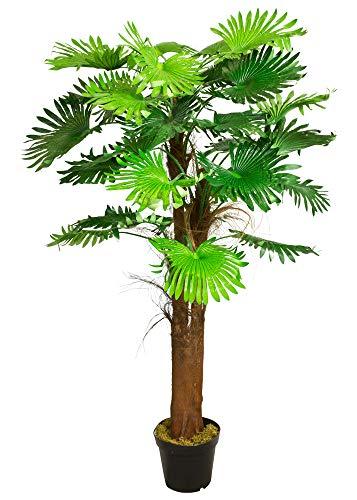 Decovego Palme Palmenbaum Fächerpalme Kunstpflanze Kunstbaum Künstliche Pflanze 180cm