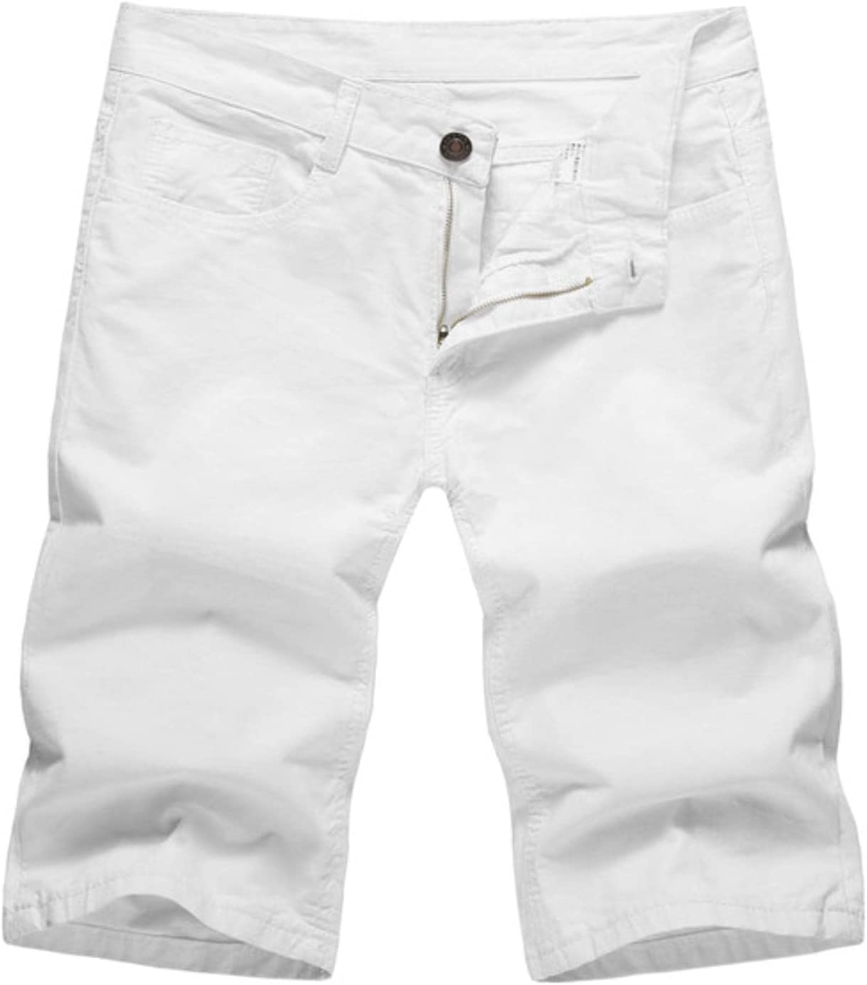 WoJogom 2021 Summer Men Denim Shorts Slim Casual Knee Length Short Hole Jeans Shorts for Men Bermuda