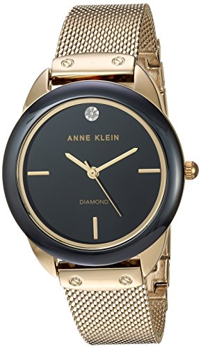 Anne Klein Women's AK/3258BKGB Diamond-Accented Gold-Tone Mesh Bracelet Watch