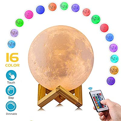 AED Moon Lamp with Stand, Slap & Touch & Remote Control, 16 RGB Colors, Dimmable, USB Recharge, 3D Printed Moon Night Light, Christmas Thanksgiving Gifts for Kids (4.7INCH)