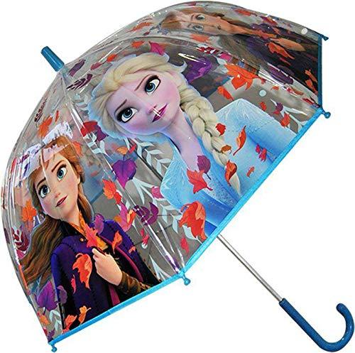 Disney Frozen Transparente Campana 19' 2 Paraguas Acampada y Senderismo Infantil, Juventud Unisex, Multicolor (Multicolor), Talla Única