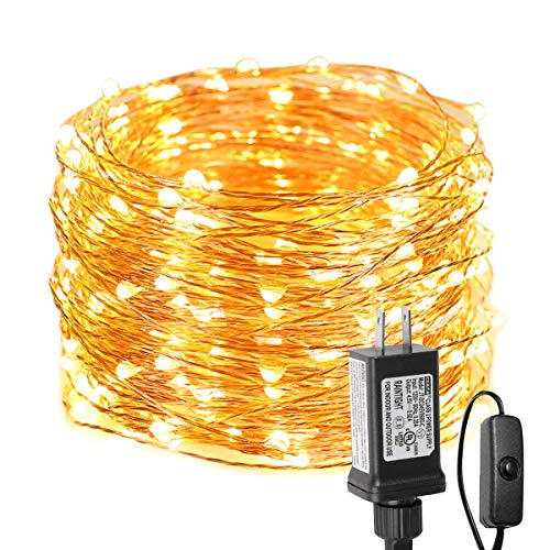 LE Fairy Lights with Switch, 66ft 200 LED, Plug in, Waterproof, Indoor Outdoor Decorative Copper String Light for Bedroom, Patio, Party, Wedding, Christmas, Holiday Décor and More