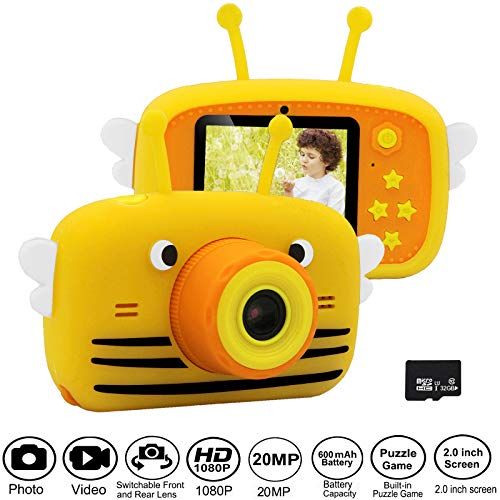 Gurmoir Kids Camera for Boys/Girls.20MP Children Digital Camera with Game Photo 1080P HD Video Record 2.0 inch Screen with Soft Shell.Best Gifts for 3-12 Years Boys/Girls (with 32GB Micro SD Card)
