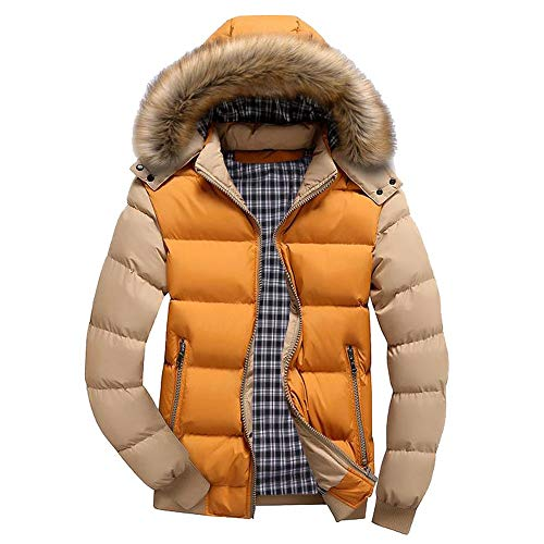 MODOQO Men's Hooded Jacket Casual Warm Puffer Down Coat with Fur Hood for Winter (XL, Yellow)