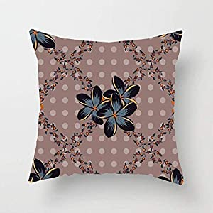 LJVHDSJT Colorful Silk Scarf Plumeria Flowers Pink Gray Nature Abstraction Arabian Colored Cosmos Damask Throw Pillow Cover Cotton Sofa Bed Throw Cushion Cover Decoration