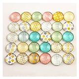 YSJJSQZ cabujón 50 unids/Lote 12 mm Moda Colorido Nueva Foto cabuncos de Vidrio cabujones Mezclados CABOCHONES para Pendientes Pendientes Collar Bases Ajustes (Color : E5 01)