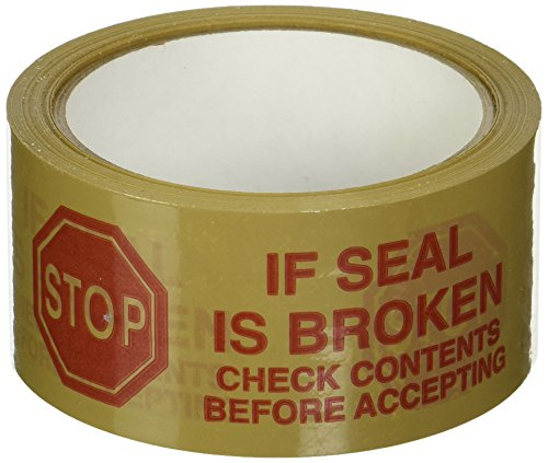 """3M 371 Printed White Carton Sealing Tape - 2 in. x 55 yds. Adhesive Tape Roll with Red """"If Seal is Broken"""" Lettering. Sealants and Adhesives"""