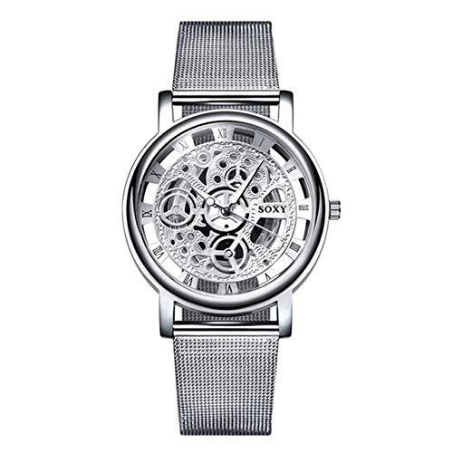 Somviersb SOXY Fashion Business Skeleton Watch Men Grabado Hueco Cuarzo Reloj de Pulsera Reloj de Acero Inoxidable Reloj de Cuero Semana Pantalla Función Digital Movimiento Unisex Watch