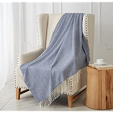 "MERRYLIFE Decorative Knitted Throw Blanket (Large) Sofa, Couch, or Bedroom Décor | Breathable Warmth, Plush Acrylic Fabric | 50"" x 60"" Herringbone-Blue"