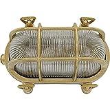Brootzo GLORIA LED 10W Schiffslampe schiffsleuchten Gitterlampe Kellerlampe feuchtlamp aus massivem Messing wasserdichte Leuchter Licht lampe rustikale Maritim Wandlampe Industrielicht.