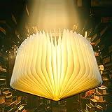 Buchlampe LED, 360° Faltende Hölzerne Buch Lampen Leselicht, USB Wiederaufladbar Dekorative...