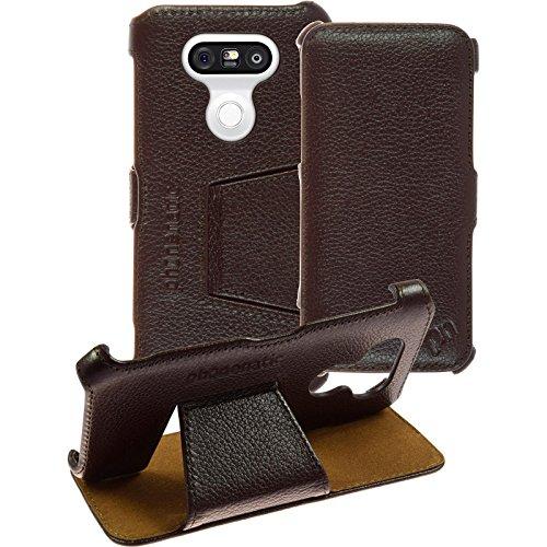 PhoneNatic Echt-Lederhülle kompatibel mit LG G5 - Leder-Hülle braun + Glasfolie