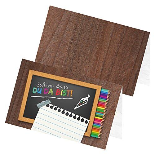 itenga 24 x Tischkarten Platzkarten Schulanfang Kindergeburtstag Einschulung Tischdeko inkl Spiel