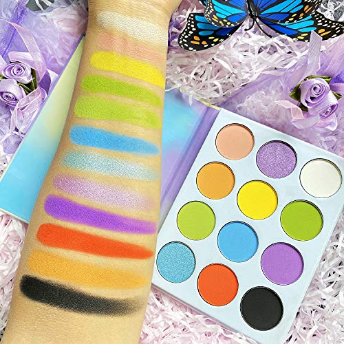 Bright Makeup Palette Dream Pastel Eyeshadow,Afflano Pigment Professional Matte Shimmer Neon Colorful Eye Shade Pallet 12 Colors,Cruelty Free Vibrant Eyeshadow Palette for Girl Women Wife holiday Gift