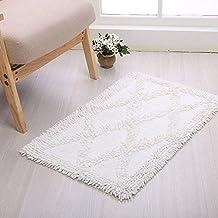 Bedroom Indoor Area Rug Absorbent Mat Bath Mat Washable Soft mat (Color : White, Size : 60cmx90cm)
