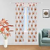 girasole coppia tendine semitrasparenti con fiori stampati 1 telo 2 pannelli 70x240cm con passanti (arancione, 70_x_240cm)