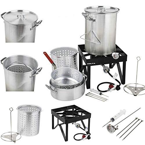 Best Buy! SELVA Deluxe 30 qt Stainless Steel Turkey Fryer Steamer Kit | 55000 BTU Cast Iron Liquid B...