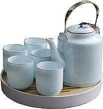 Theekopje Set, handgemaakte porseleinen theeset met 1 theepot, 6 theekopjes, 1 lade, voor Outdoor Picnic Business Hotel (K...