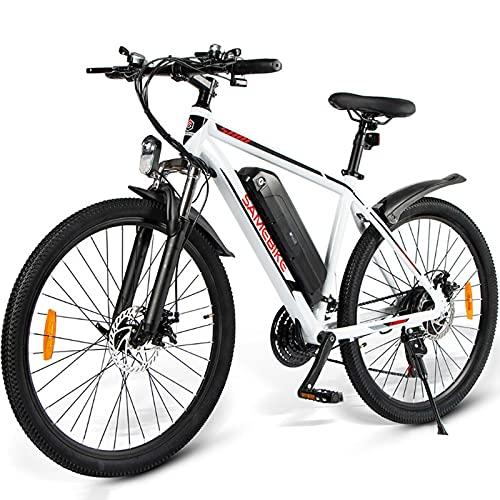 Bicicleta Eléctrica de Montaña 26'' E-Bike MTB Pedal Assist, Batería de Litio 36V 10Ah, Bicicleta Eléctrica para Adultos 350W, Shimano 21 Velocidades, Bicicleta de Montaña Eléctrica con Pantalla LCD