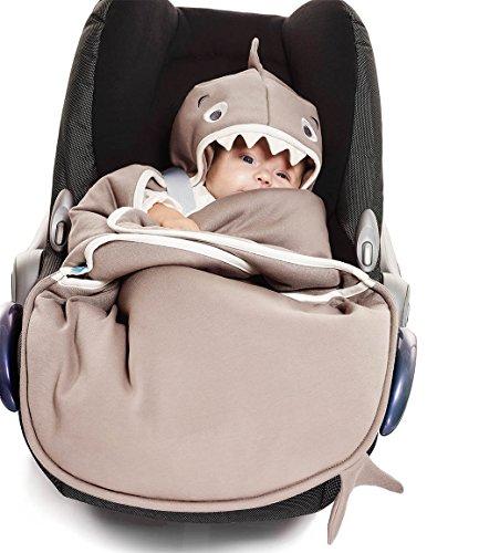Wallaboo Einschlagdecke Universal für Babyschale, Autokindersitz, für Kinderwagen, Buggy, Babybett, Schönen Blumenform, Baumwolle, 90 x 70 cm, 0 - 12 Monaten, Farbe: Taupe