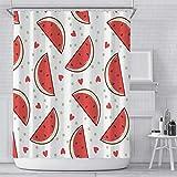 Duschvorhang Wassermelone 100prozent Polyester wasserdicht schimmelfest antibakteriell mit 12 Haken Sichtschutz für Zuhause & Hotel [waschbar] 180 x 180 cm