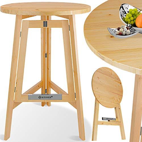 Kesser® Stehtisch Klappbar Massiv Holz Tannenholz | Ø 78cm x 111 cm Rund | Bistrotisch | Partytisch | Holzstehtisch | Gartentisch | Klapptisch | Holztisch | Tisch Klappbar | In- & Outdoor |
