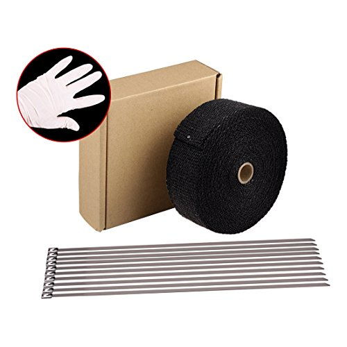 "HM&FC 2"" x 50' Black Fiberglass Exhaust Header Pipe Wrap Motorcycle Fiberglass Heat Shield Tape Glove Included"