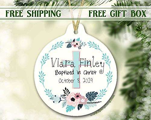 Girl Baptism Gift Ornament, Christening Gift for Baby Girl, Personalized Christmas Ornament