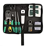 Network Tool Kits Professional- Net Computer Maintenance LAN Cable Tester 9 in 1 Repair Tools,8P8C RJ45 Connectors,Cable Tester,Screwdriver,Crimp Pliers,stripping pliers Tool Set