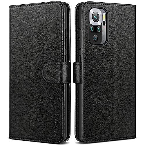 Vakoo Lederhülle Kompatibel mit Xiaomi Redmi Note 10 4G / Note 10S Hülle, Flip Wallet Handyhülle PU Leder Tasche Hülle Schutzhülle mit Xiaomi Redmi Note 10, Schwarz