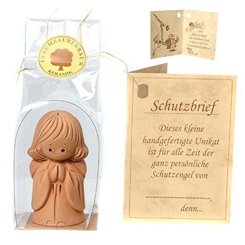 Traumzauberbaum Schutzengel stehend mit Schutzbrief Engel Figur Keramik