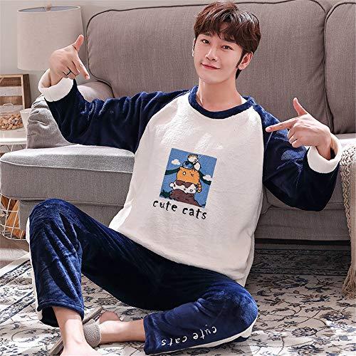 DUJUN Männer weichen Pyjama, Dicke Korallen Samt Pyjama, Flanell Langarm-Anzüge, Freizeitkleidung für zu Hause, eine Vielzahl von optionalen A9 XXXXL