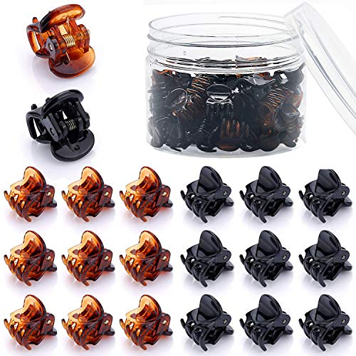 JANYUN 48 Pcs Small Mini Hair Claw Clips for Women Girl's Hair, Black and Brown