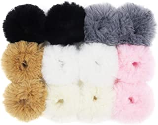 1a1fdb7ae940a Set of 12 Fuzzy Furry Artificial Rabbit Fur Faux Fur Hair Band Rope Hair  Holder Wristband