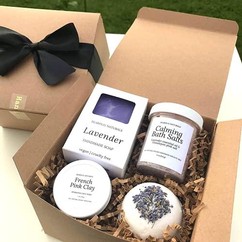 Lavender Spa Gift Box for Women, Mom, Best Friend, Vegan Natural Mothers...