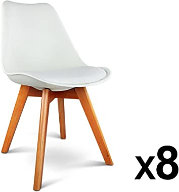 8 x Artiss Eames DSW Dining Chairs Wooden Plastic Padded Kitchen Chairs White